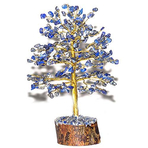 Odishabazaar Natural Stone Feng Shui Bonsai Money Tree for Good Luck Chakra Balancing Crystal Gemstone Energy Decor Home Gift Size -9 Inch Golden Wire (Lapis Lazuli)