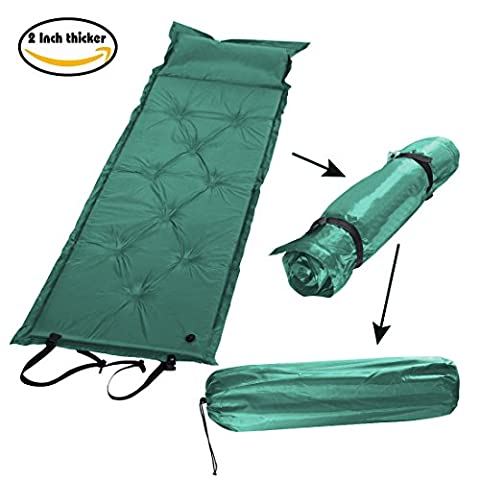 2 Inch thicker Portable Folded Self-Inflating Camping Sleeping Mattress Pad with Attached Pillow, (Green) - Free Carry Bag - 2 Free Mattresses