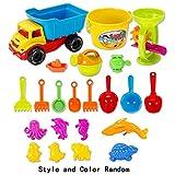 AiSi 22pcs Kids Sand, Sandpit, Beach Toy Play Set Castle Bucket Spade Shovel Rake Bath Toys