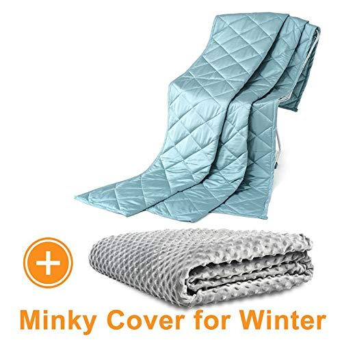 Cheap Momjoy Luxury and Cooling Weighted Blanket Bamboo Viscose for Adult with Removable Minky Duvet Cover for Summer and Winter 15lbs 48x72 Inch for Full/Queen Size Sea Green Black Friday & Cyber Monday 2019