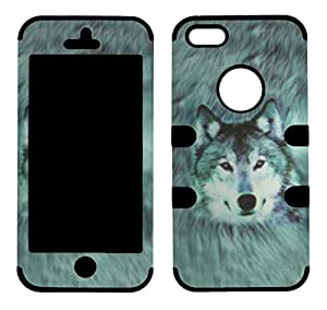2D Hybrid 3 in 1 Snow Wolf Apple Iphone 5, 5S High Impact Shock Defender Plastic Outside with Soft Silicone Drop Defender Snap On Cover Case
