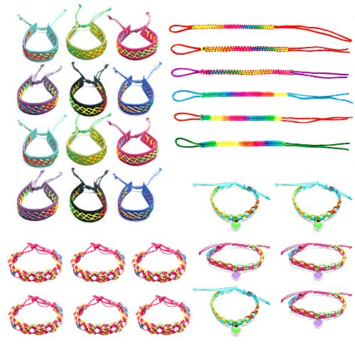 30 PCs Friendship Bracelets for Girls, Teens, Women - Handmade Woven Friendship Bracelet Bulk Set with 12 Party Favor Bags - Great for Gifts, Giveaways, Birthdays, Pinatas -