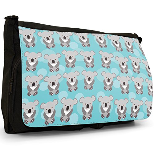 Shoulder Cute Messenger Large Bears Rows Canvas Cuddly Koala School Laptop Pattern Unicorn Animal Grey Bag Black HxqC8rHFw