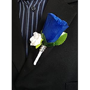 Boutonniere - Royal Blue White Rose with White Mini Rose 27