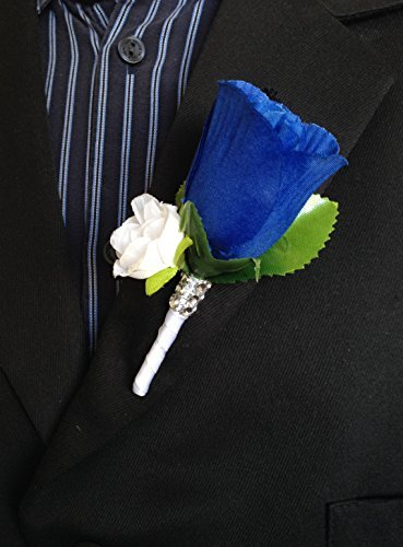 - Boutonniere - Royal Blue White Rose with White Mini Rose