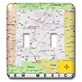 3dRose Lens Art by Florene - Topo Maps, Flags of States - Image of New Mexico Topographic Map With Flag - Light Switch Covers - double toggle switch (lsp_291415_2)