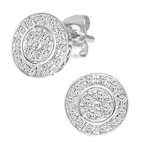 Naava - Boucles d'oreille - PE3653 - Femme - Or blanc (9 carats) 1.4 Gr - Diamant 0.23 Cts