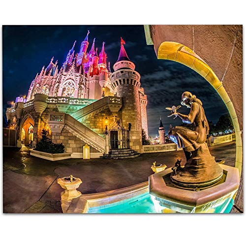 Walt Disney World Cinderellas Castle Fountain - 11x14 Unframed Art Print - Makes a Great Gift Under $15 for Disney ()