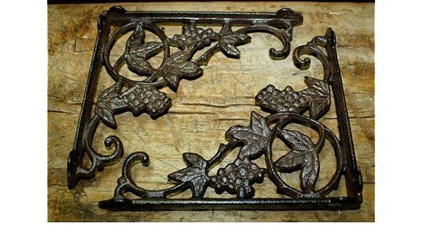 A Pair Antique Style Cast Iron Brackets Garden Braces Rustic Shelf Bracket Brown