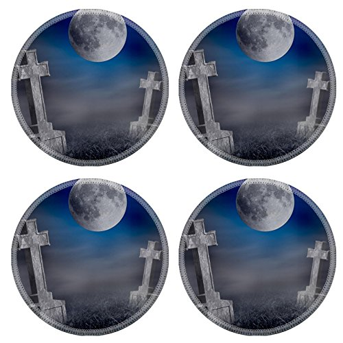 Liili Round Coasters Non-Slip Natural Rubber Desk Pads IMAGE ID: 23132877 Mystery old graveyard with a group of cross tombstones at midnight Halloween collage]()