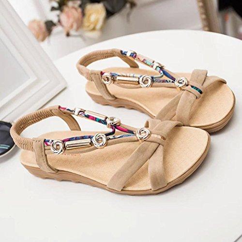 Binmer (tm) Womens Sommer Sandaler Peep-toe Lav Sko Romerske Sandaler Damene Flip Flops Sko Beige