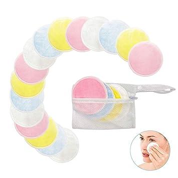 ... Almohadillas de enfermería de algodón de bambú lavables con bolsa de lavandería para toallitas de cara / ojos: Amazon.es: Belleza