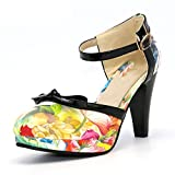 Sky-Pegasus Size 32-48 Women High Heel Shoes Round Toe Heels Sandals Print Platform Sandals Black Bow,red,4