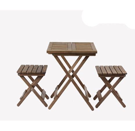 HAOYUXIANG Mesas y sillas Plegables de Madera balcón al Aire ...