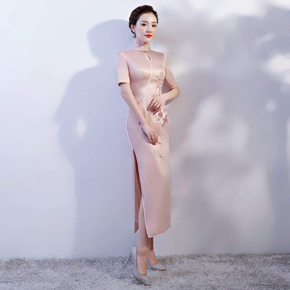 A6 L Qingxi Printemps Cheongsam brodé Longue Robe Cheongsam Paragraphe Paragraphe Slim Slim Sac Manches Hanche d'été