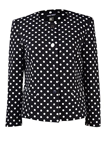 Nine West Women's Polka Dot Button Front Jacket, Black/Ivory, 12
