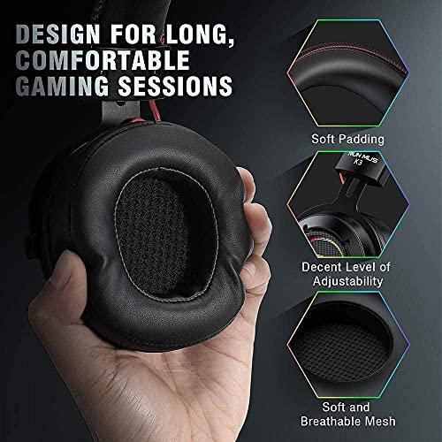 POTIKA 7.1 Fones De Ouvido Com Som Estéreo Surround, Fones De Ouvido Pretos Com Microfone RGB Luminoso, Cancelamento De…