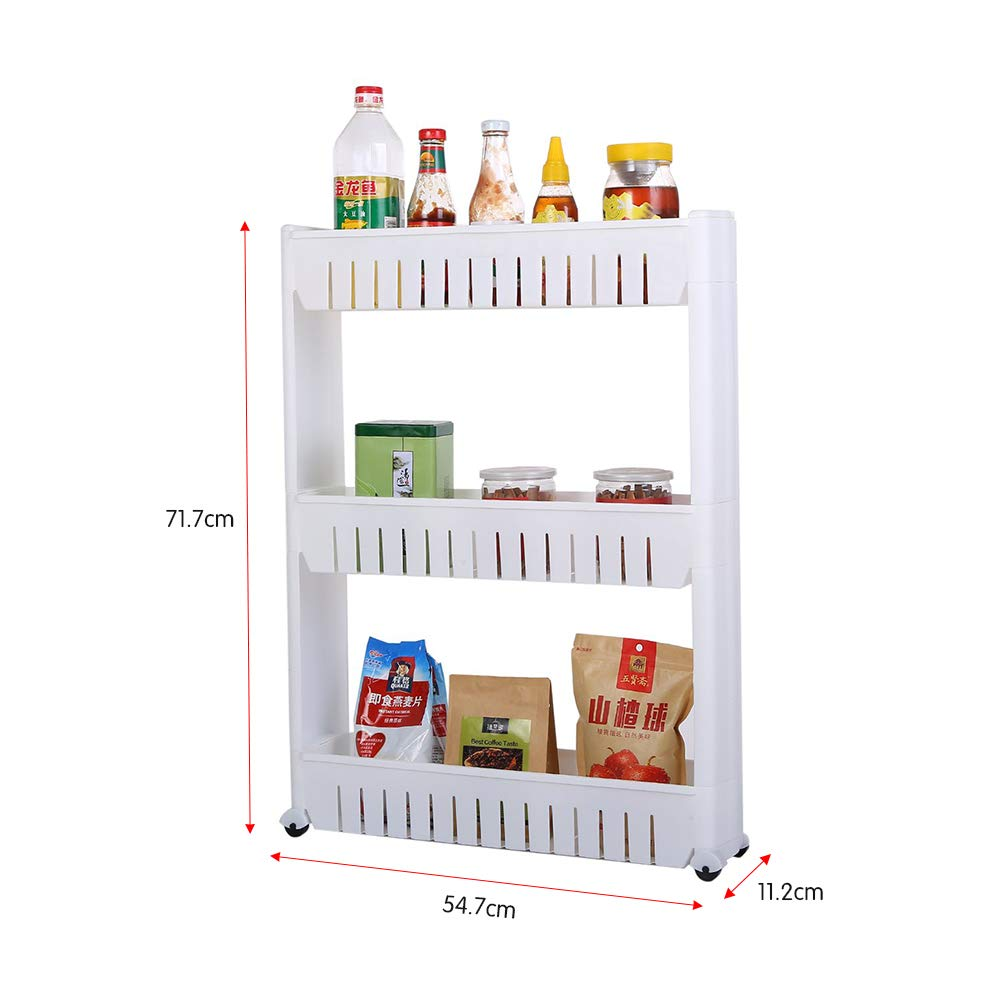 Kitchen Storage Rack with Wheels Bedroom Storage Shelving Trolley 3 Tiers Slide Out Removable Bathroom Storage Shelf Easy to Assemble by Hengory (Image #5)