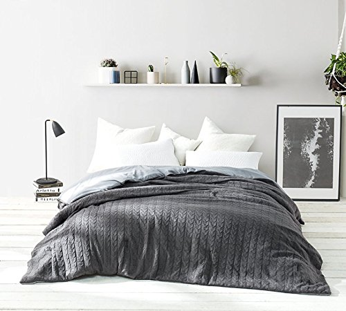 Thick Cable Knit - Byourbed Cable Knit King Comforter - Granite Gray