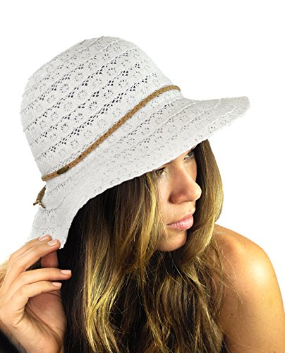 NYFASHION101 Open Knit Brown Braided Trim Vented Cotton Beach Sun Hat - White - Knit Bucket Hat