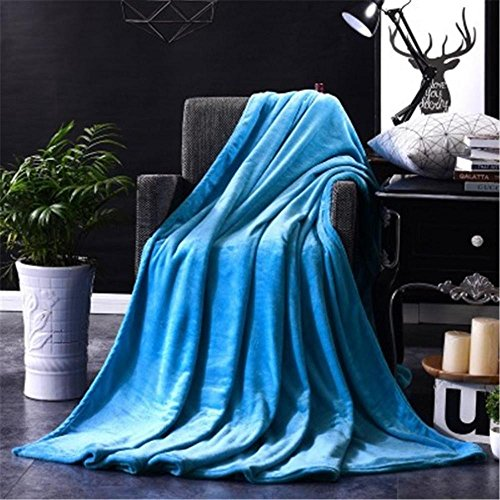 durable service FTXJ Micro Plush Microfiber Throw Blanket, Soft Fleece Warm Lightweigh Quilt for Couch/Sofa/Bed (50x70CM, Blue, Small Size for Baby)