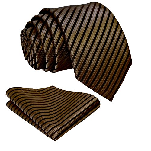 Striped Brown Color - Striped Ties for Men - Woven Necktie & Pocket Square - Chocolate Brown w/Black