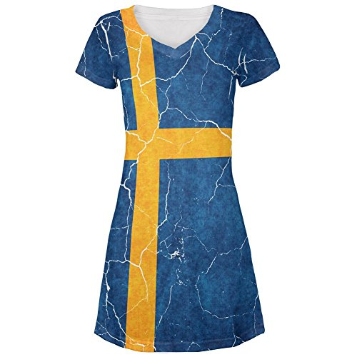 Swedish Dress (Distressed Swedish Flag All Over Juniors Cover-Up Beach Dress Multi SM)