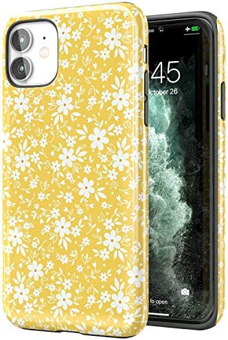 Tenpon iPhone 11 Case with Cute Little White Floral Designs for Girls Women, Heavy Duty Shockproof Dual Layer Hard PC + Flexible TPU Rubber Cover Protective Phone Case for iPhone 11 case 6.1 inch