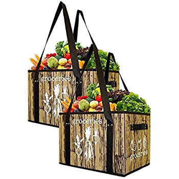 Earthwise Reusable Grocery Bag Set Deluxe Collapsible Shopping Box with Reinforced Bottom (Set of 2)