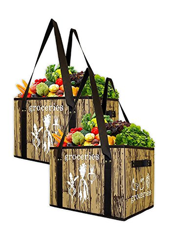 Earthwise Reusable Grocery Bag Set Deluxe Collapsible Shopping Box with Reinforced Bottom (Set of 2) (Shopping Totes)