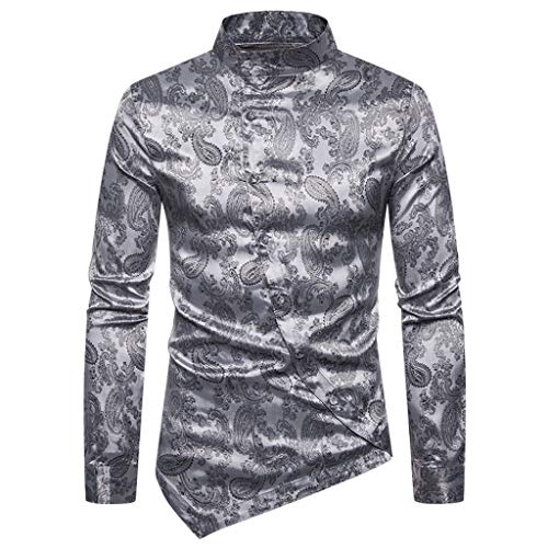 iHHAPY Senior Shirts Glossy T-Shirt Stand Collar Long Sleeve Top Solid Blouse Casual Button Up Shirts Luxurious ()