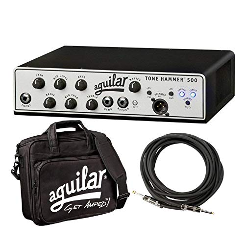 Solid Head Amplifier (Aguilar Tone Hammer 500 Super Light 500 Watt Solid State Bass Amplifier Head with Drive Control, FX Loop and Balanced DI Output with Water Resistant Bag and Instrument Cable)
