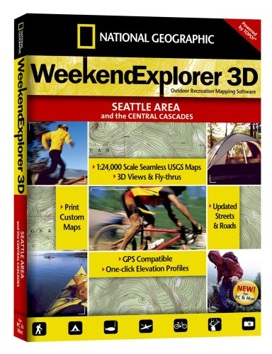 National Geographic TOPO! Weekend Explorer 3D Seattle Area/Central Cascades Map CD-ROM (Windows) (Maps Central)