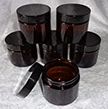 1-oz Dark Amber Glass Jars for beauty products, creams, essential oils (Set of 6)