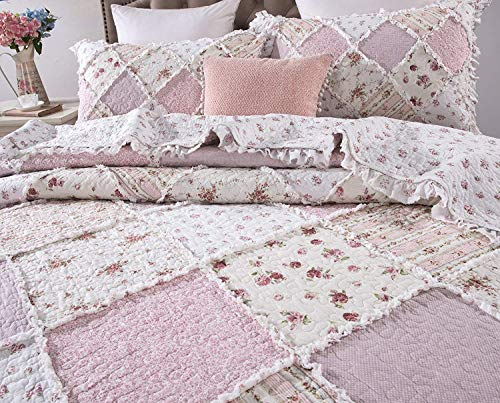 DaDa Bedding Patchwork Bedspread Set - Strawberry Shortcake 100% Cotton Floral Ruffle - Pink - King - ()