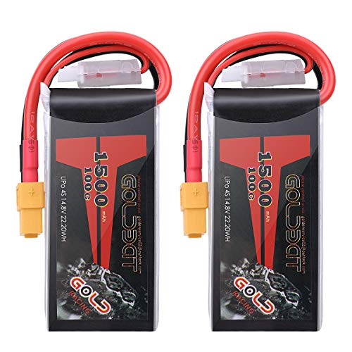 GOLDBAT 1500mAh 4S 100C 14.8V Softcase Lipo Battery Pack with XT60 Plug for RC Car Truck Boat Heli Airplane UAV Drone FPV Racing (2 Packs) ()