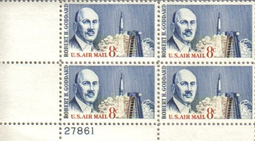 Airmail Plate Block (1964 ROBERT H GODDARD #C69 Airmail Plate Block of 4 x 8 cents US Postage Stamps)