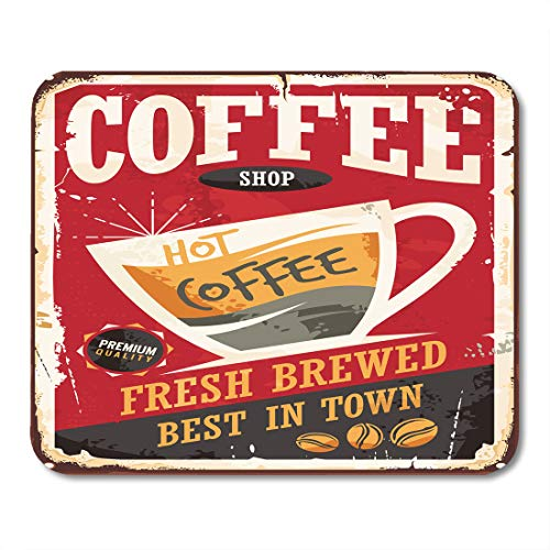 - Emvency Mouse Pads Coffee Retro Tin Sign on Red Cafe Bar Interior Promotional Material Vintage Cup and Beans Mouse pad Mats 9.5