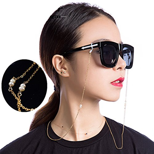 Kalevel 14K Gold Plated Pearl Eyeglass Chain Chains and Cords for Women Gold