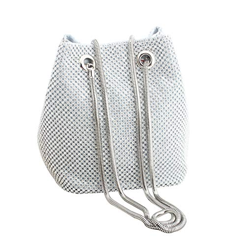 Mogor Bling Twinkle Glitter Luxury Full Rhinestones Portable Evening Clutch Bucket Bag Tote Purse Wallet Gift for Girl Women Fashion Party Wedding Prom,Silver01 ()