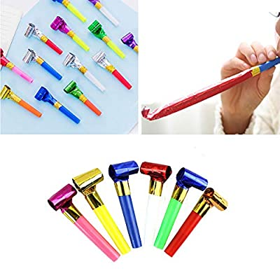 Kbraveo 180Pcs Musical Blow Outs and Glitter Fringed Whistle Balloon Party Horns For Birthdays,Christmas, New Year, and other Celebrations Party: Toys & Games