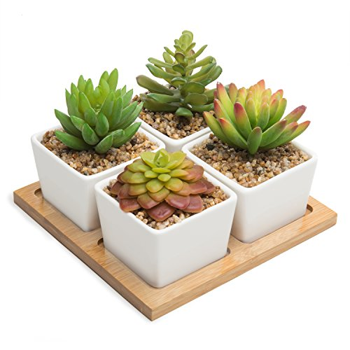 MyGift Set of 4 Artificial Succulents in White Ceramic Pots with Removable Bamboo Tray by MyGift