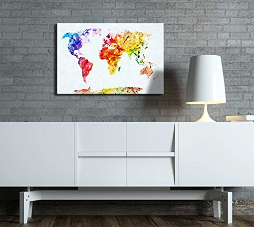 Watercolor Style World Map Wall Decor ation