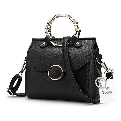 Yoome bolsos elegantes para las mujeres Circulares Ring Top Handle Tote Bolsas elegantes para los bolsos Casual Encanto - Blanco Negro