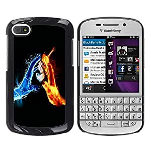 LECELL -- Funda protectora / Cubierta / Piel For BlackBerry Q10 -- Water & Fire Elements --