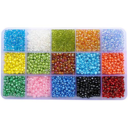 BALABEAD 6000pcs in Box 15 Colors Mixed 6/0 Glass Seed Beads for Jewelry Making Loose Spacer Beads, 4mm Round, Hole 1.2mm (15 Colors lot 2)