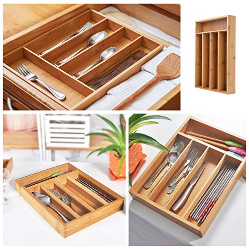 Keyfun Organizers 5-Slot Bamboo Cutlery Drawer Organizer by Keyfun (Image #2)