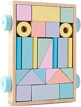 Juguete Educativo, Carro de Madera Bloques, bloques construccion bebe, Bloques de Construcción, Remolques con Bloques de Madera,Cumpleaños Regalos