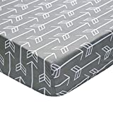 Arrow Fitted Crib Sheet (White Arrows on Gray)