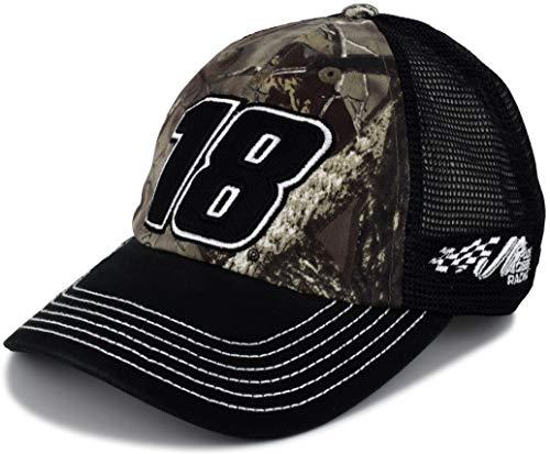 Kyle Busch Cotton - Checkered Flag Kyle Busch 2019 Black Mesh TrueTimber Camo #18 NASCAR Hat